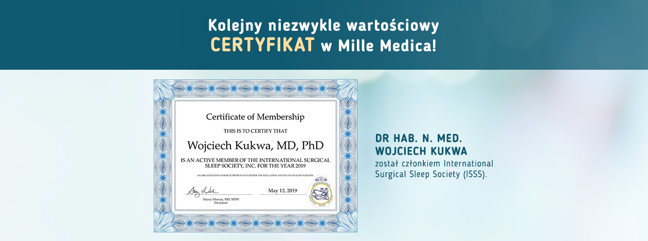 Certyfikat Dr hab. n. med. Wojciech Kukwa International Surgical Sleep Society