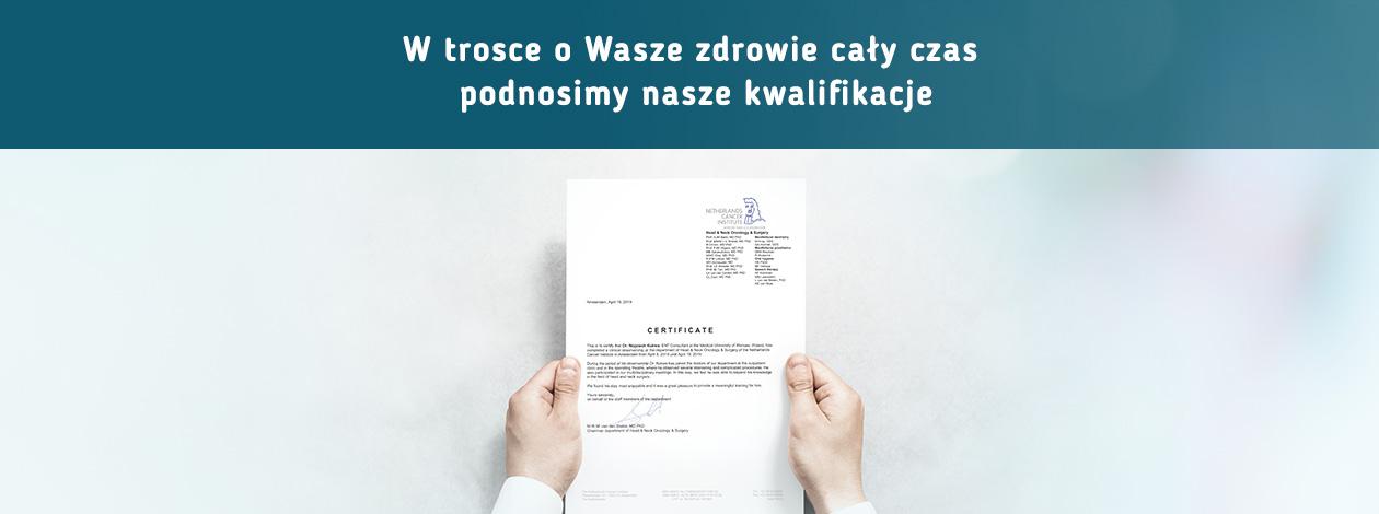 certyfikat Centrum Onkologicznego w Amsterdamie