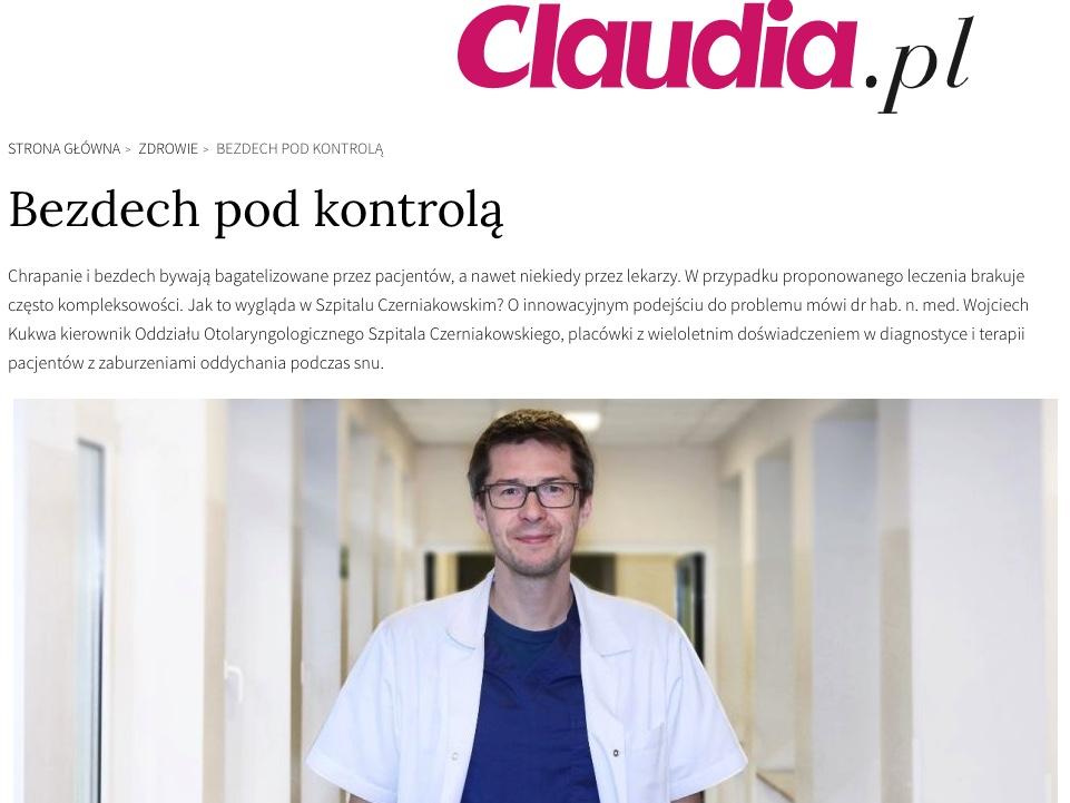 Wywiad w piśmie Claudia o bezdechu sennym z Wojciechem Kukwą